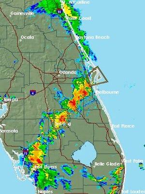 NWS Radar at 4:46 p.m. Saturday