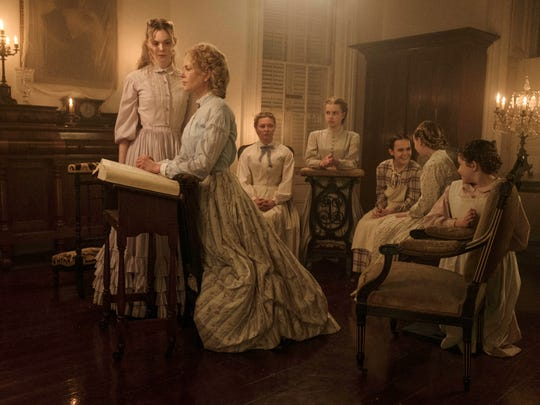 "Life in a Southern boarding school during the Civil War changes for the darker in ""The Beguiled"" for Elle Fanning (from left), Nicole Kidman, Kirsten Dunst, Angourie Rice, Oona Laurence, Emma Howard and Addison Riecke."