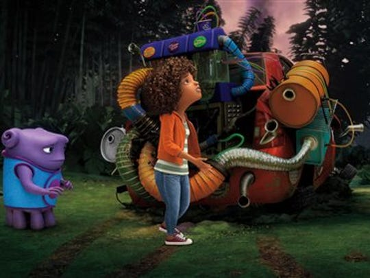 "Oh, voiced by Jim Parsons, left, and Tip, voiced by Rihanna appear in a scene from the animated film ""Home."""