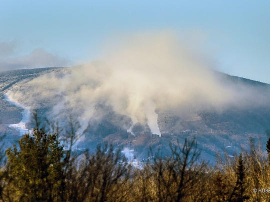 Snowmaking in action at Stratton Mountain.