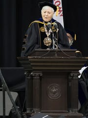 UI President Sally Mason gives the faculty commencement address during the University of Iowa's College of Liberal Arts and Sciences commencement at Carver-Hawkeye Arena in Iowa City on Saturday. It was her last time presenting at commencement as president of the university.