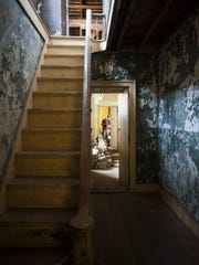 A staircase in the Officers Quarters of Fort Shaw. Helen Wilson lived in one of the former officer quarters as a teacher in the 1930s.