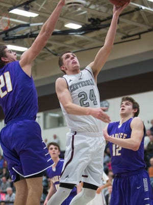Ankeny Centennial High School's Jay Schon (24) suffered an ankle injury at Ottumwa on Friday.