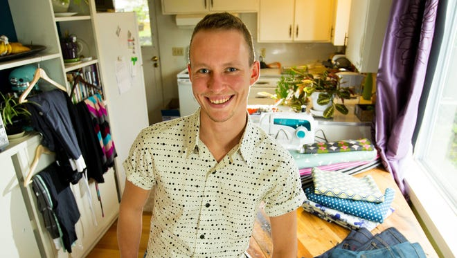 Leo Roux has created a line of clothing specifically for transgender people. Roux designed the pants and shirt he is wearing.