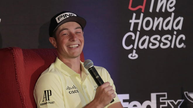 Viktor Hovland of Norway speaks during a news conference during the Pro-Am of the Honda Classic golf tournament, Wednesday.