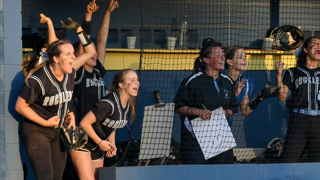 Rockledge players cheer on a teammate during their game against Eau Gallie Tuesday evening.