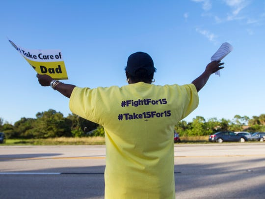 Juanita Noble and her fellow protesters gathered in November to fight for $15 an hour in North Fort Myers.