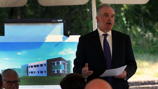 Raritan Valley Community College President Michael McDonough speaks at the groundbreaking for new workforce training building at the college on Tuesday.
