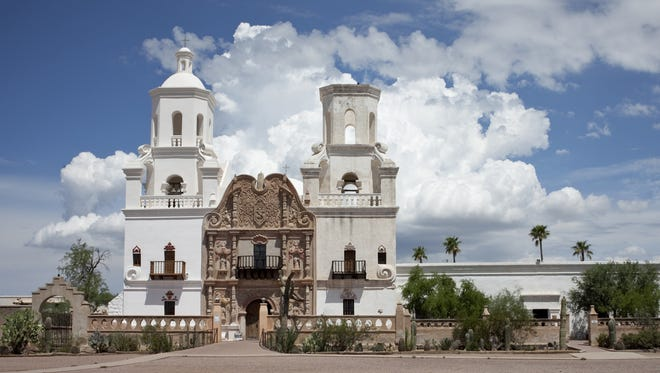 "Mission San Xavier del Bac, the ""White Dove of the Desert,"" south of Tucson."