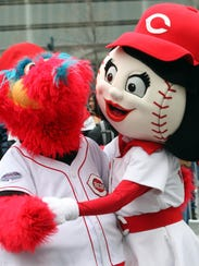 Cincinnati Reds mascots Gapper and Rosie Red.