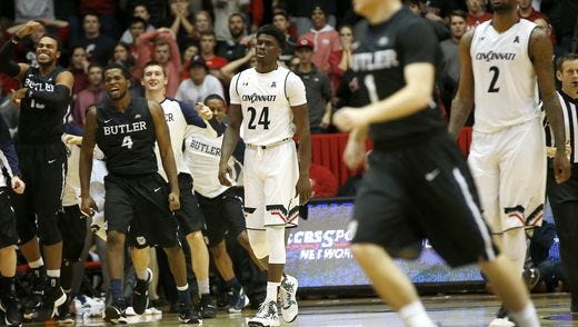 Butler players celebrate their 78-76 win over UC this past December.