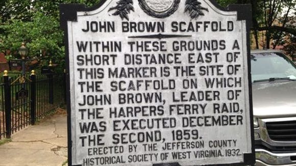 This historical marker points to the nearby site where John Brown met his end in Charles Town, W.Va., in 1859.