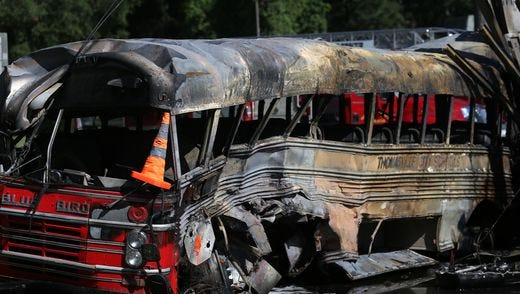 A bus traveling south on Woodville Highway was hit by a semi-truck traveling west on Coastal Highway in Wakulla Saturday morning, leaving 5 people dead and 25 more hospitalized.