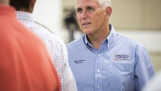 Gov. Mike Pence at the Delaware County Fairgrounds in Muncie on Wednesday.
