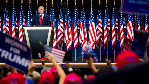Donald Trump accepts the Republican presidential nomination in Cleveland. A week and a half later, he was endorsed by Ohio's largest anti-abortion group.