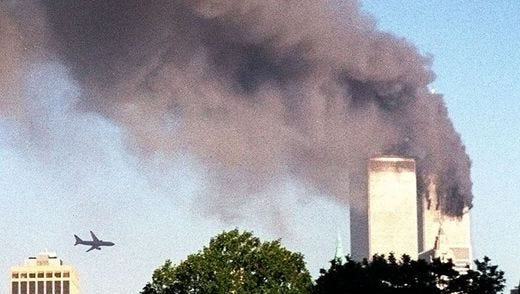 United Airlines flight 175, seconds before it crashed into the south tower of the World Trade Center.