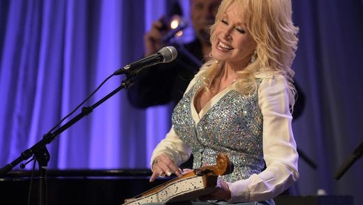 "Dolly Parton rehearses for the pre-taping of the ""Dolly Parton's Smoky Mountains Rise: A Benefit for the My People Fund,"" Tuesday, Dec. 13, in Nashville, Tenn."