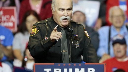 Butler County Sheriff Rick Jones at a  Donald Trump rally in October 2016.