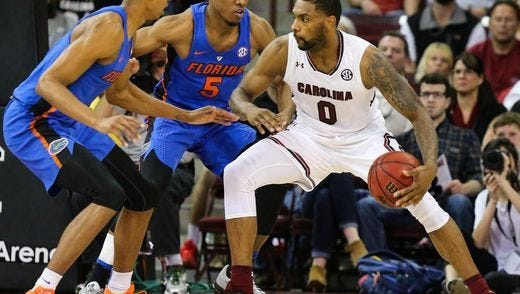 Sindarius Thornwell works against defenders with the University of Florida earlier this year.