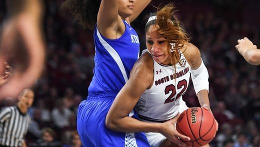 South Carolina forward A'ja Wilson (22) drives toward the basket against Kentucky in a game at Bon Secours Wellness Arena.