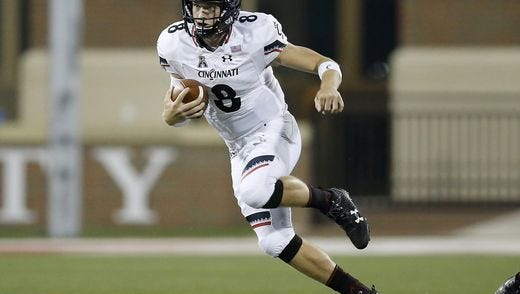 Cincinnati Bearcats quarterback Hayden Moore will try to keep the offense on the field against Navy, as much as possible. The Midshipmen like to work the clock with their triple-option offense, and UC must sustain its own drives to give the Bearcats defense some rest.