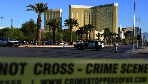 The shooter on Sunday night in Las Vegas was on the 32nd floor of Mandalay Bay, shown at right.