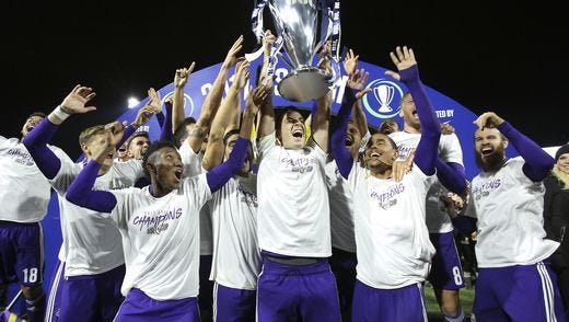 The Louisville City FC soccer team hoisted the USL Cup after they defeated the Swope Park Rangers 1-0 during the USL championship game. Nov. 13, 2017.