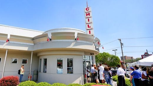 The Food Network says Cincinnati chili most defines Ohio dishes and that it is best eaten at Camp Washington Chili.