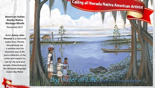 "2017 winning artwork from artist Jimmy Osceola of Plantation, Fla. titled, ""Big Water of Life"""