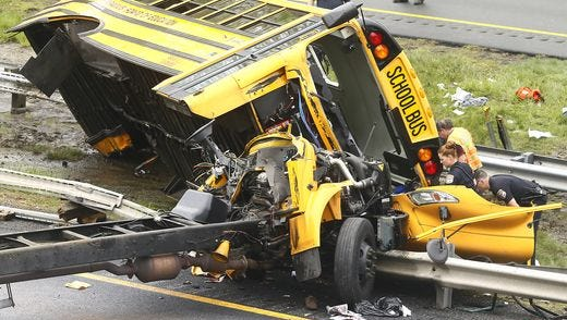 Fatal school bus crash on May 17, 2018 in Mount Olive