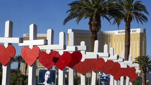 Crosses lined Las Vegas Boulevard in the days after the Oct. 1, 2017, mass shooting at a concert that claimed 59 lives.