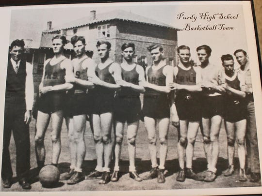 The Purdy High School basketball team, state champions in 1928, continued to the national tournament in Chicago where they stayed in a hotel for the first time. They lost their first game but won both consolation games.