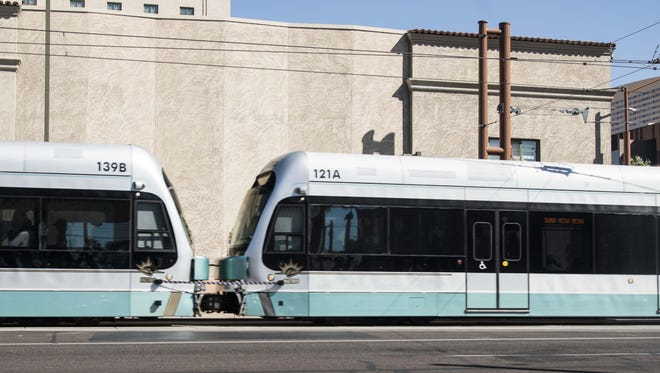 Light rail trains in downtown Phoenix