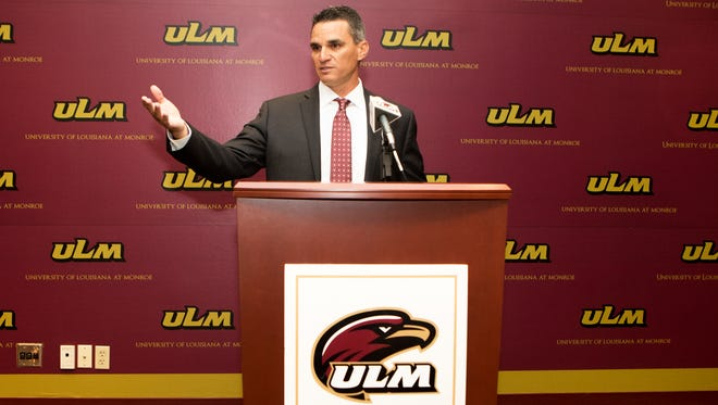 Michael Federico was introduced as ULM's new baseball coach Thursday morning inside the media room on the sixth floor of the university library.