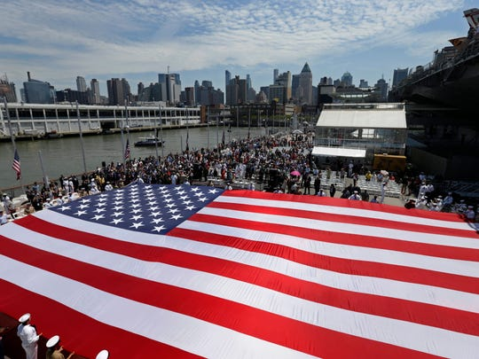 The U.S. flag is displayed by all branches of during