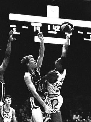 ABA Pacers photo by Jim Young The News. 10/15/1970 Pacers vs. Kentucky. Indiana Pacer Mel Daniels (34) <b>10/24/2009 - B01 - MAIN - 1ST - THE INDIANAPOLIS STAR</b><br />STAR IN HIS TIME: Mel Daniels (right) was an intimidating force for the Pacers in their ABA days. He helped them win three league titles. <b>04/25/2012 - C01 - MAIN - 2ND - THE INDIANAPOLIS STAR</b><br /> Mel Daniels, who will be inducted into the Naismith Memorial Basketball Hall of Fame later this year, shoots over Kentucky's Dan Issel. Daniels won ABA MVP honors in 1969 and 1971.