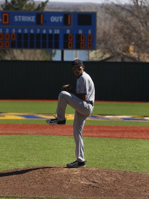 Shiprock's Dylan Begay pitches against Grants on Saturday at John Gutierrez Field in Bloomfield.