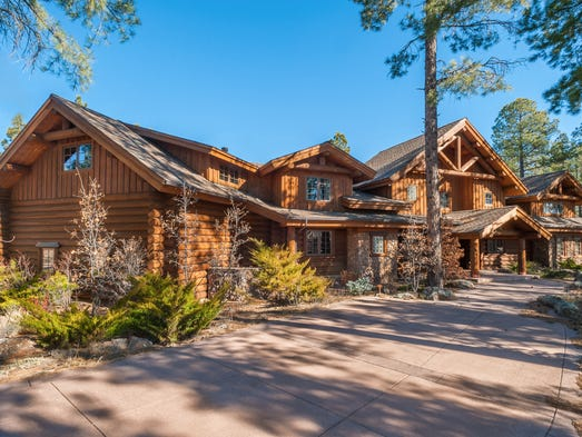 Crafted with Rocky Mountain logs, the custom home sits