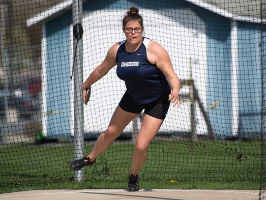 Chambersburg Reagan Winebrenner throws the discus during