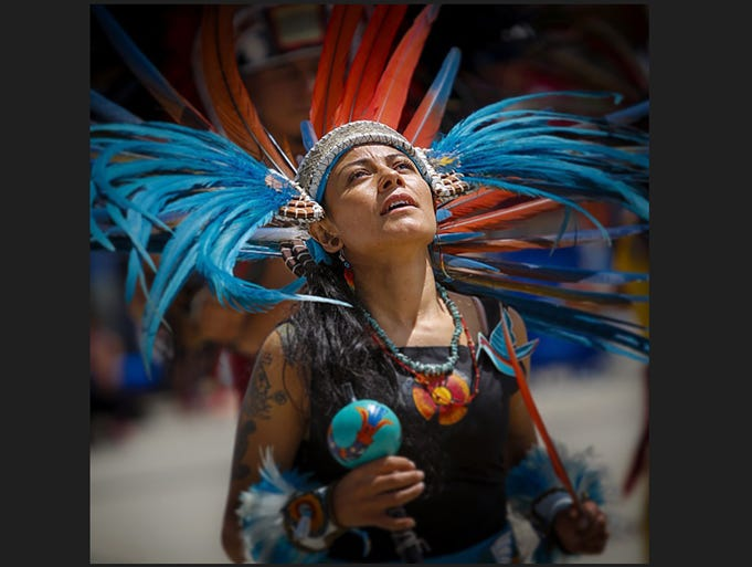 Indigenous dance at the Hispanic Heritage Festival at the Kensico Dam in ValhallaJuly 20, 2014.