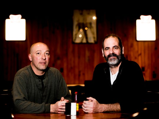 Co-owners Kit Rodgers, left, and Cullen Kehoe pose for a photo in the dining hall at Troubadour Roadhouse and Performance Hall in Knoxville, Tennessee, on Thursday, February 1, 2018. The restaurant at 4705 Old Kingston Pike features a full bar, dining hall and a performance stage for music and live acts.