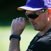 Minnesota Vikings head coach Mike Zimmer watches practice.