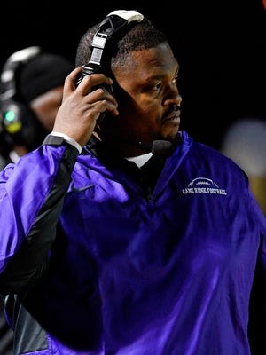 Cane Ridge coach Eddie Woods watches his team face Whitehaven during the second half of the Class 6A semifinal at Cane Ridge High School in Antioch, Tenn., Friday, Nov. 24, 2017.