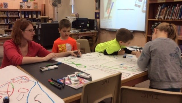 Hatley Elementary kindergartners receive a colorful introduction to coding.