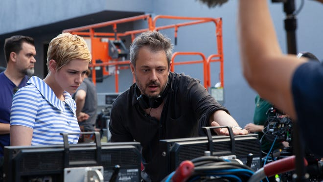 "Kristen Stewart and director Benedict Andrews discuss a scene in ""Seberg."""