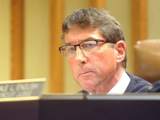 Judge Dale English listens to prosecutor Eric Toney