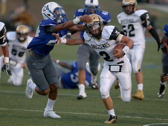Lake View's Tyre Thomas closes in on a tackle against