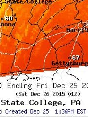 A regional maps showing the unusually high temperatures over Christmas in Franklin County.