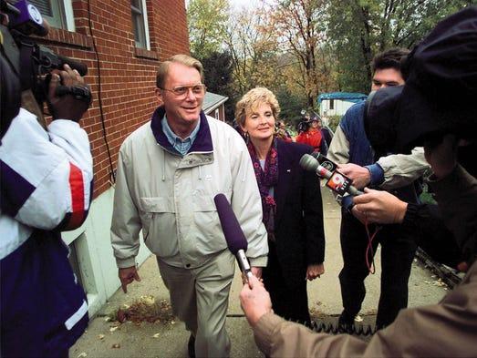 Kentucky Republican Senate candidate Jim Bunning walks