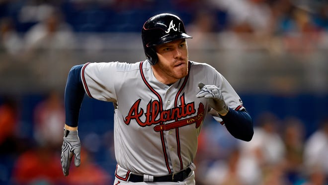 Braves first baseman Freddie Freeman played in just 117 games in 2017, but still hit 28 homers, with 84 runs scored and 71 RBI.